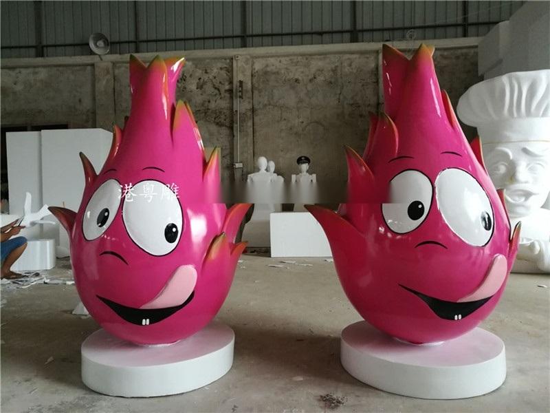纯手工制作玻璃钢创意表情装饰摆件卡通火龙果雕塑图片