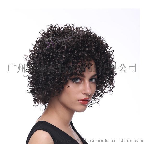 广州假发工厂批发黑人假发女 蓬松玉米烫小卷化纤假发短发