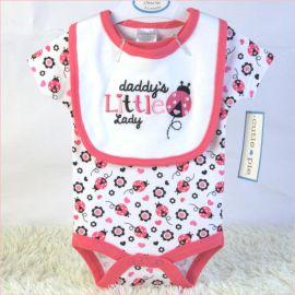 新手婴儿外贸套装夏装口水巾哈衣连身衣两件套