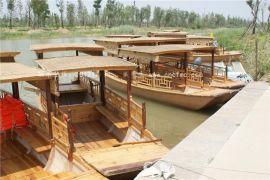 楚风木船出售广西北海湿地公园景区观光船玻璃钢游船