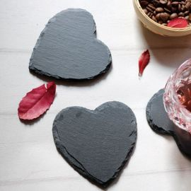 心形石板酒杯垫牛排盘婚礼糕点盘水果沙拉拼盘黑色石头餐垫
