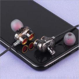 东莞耳机贴牌厂家 跨境MOYABYLI-Q2双动圈四单元耳机HIFi入耳式立体声带耳塞线控发烧耳机礼品