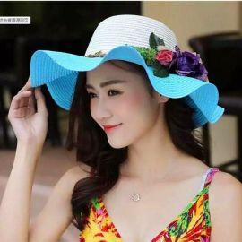 新款夏凉帽  草帽 时尚草编女士遮阳帽