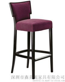 欧式实木吧椅吧凳靠背扶手酒吧吧台高脚椅子