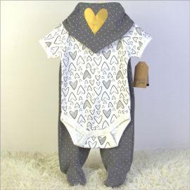 baby clothing set 3pc 婴儿纯棉外贸套装三角巾哈衣长裤三件套