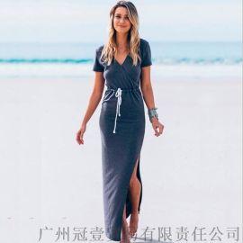 欧美新款长裙 时尚抽绳束腰 开叉下摆沙滩裙连衣裙【免费加盟一件代发】