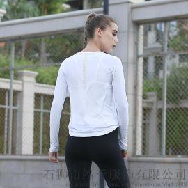 2017瑜伽服秋冬新款运动长袖t恤女跑步运动修身上衣冲孔速干长袖