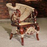 藤格格 3000 廠家批發藤木扶手仿古椅藤編家具老板椅高檔藤椅休閒桌椅組合套