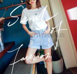 夏季新款女裝 流蘇高腰修身闊腳韓版女式牛仔短褲