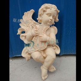 圆雕浮雕 园林景雕塑 砂岩喷泉 吹奏小天使