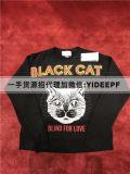 欧美高端女装涂鸦黑猫头字母长袖套头卫衣上衣