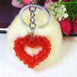 創意新品水晶毛毛球包包鑰匙圈環愛心掛件掛飾生日節日禮品飾品