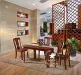 恒岳家具 纯实木水曲柳饭桌 现代中式餐桌椅组合