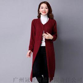 2016秋冬季女装新款 复古纯色圆领纽扣开衫 长款加厚夹棉外套