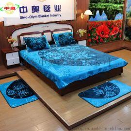 定制涤纶拉舍尔毛毯四件套五件套超柔压花床单双层枕套
