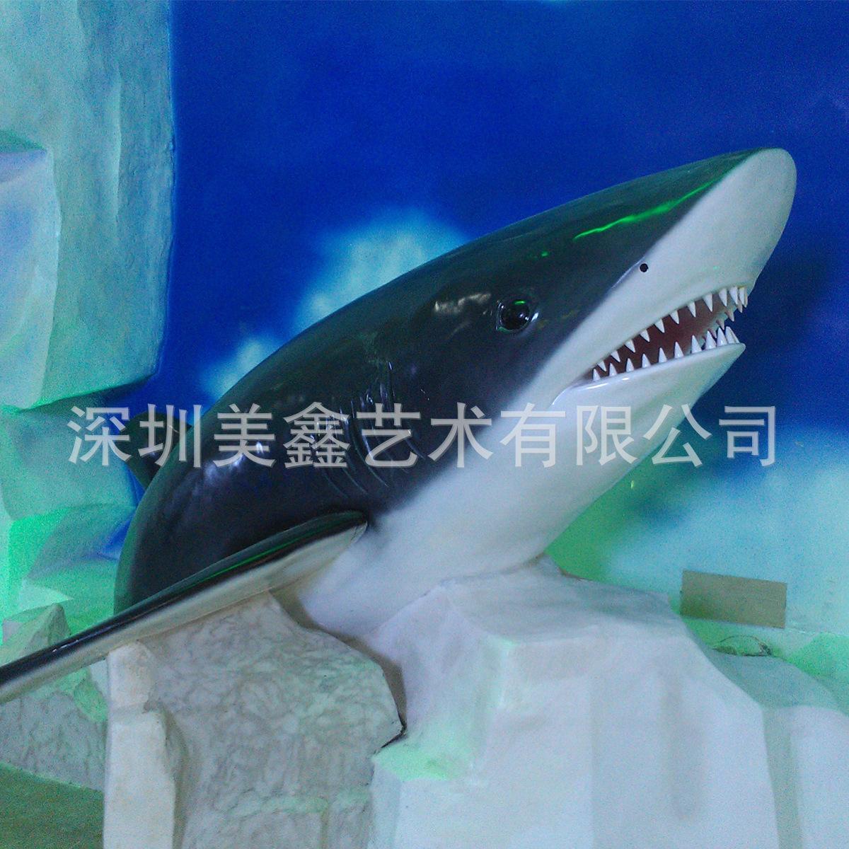 厂家直销 玻璃钢 景观雕塑 鲨鱼 仿真动物模型 模型 来图定做