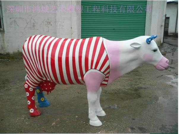 深圳厂家直销玻璃钢立体动物玻璃钢奶牛雕塑制品