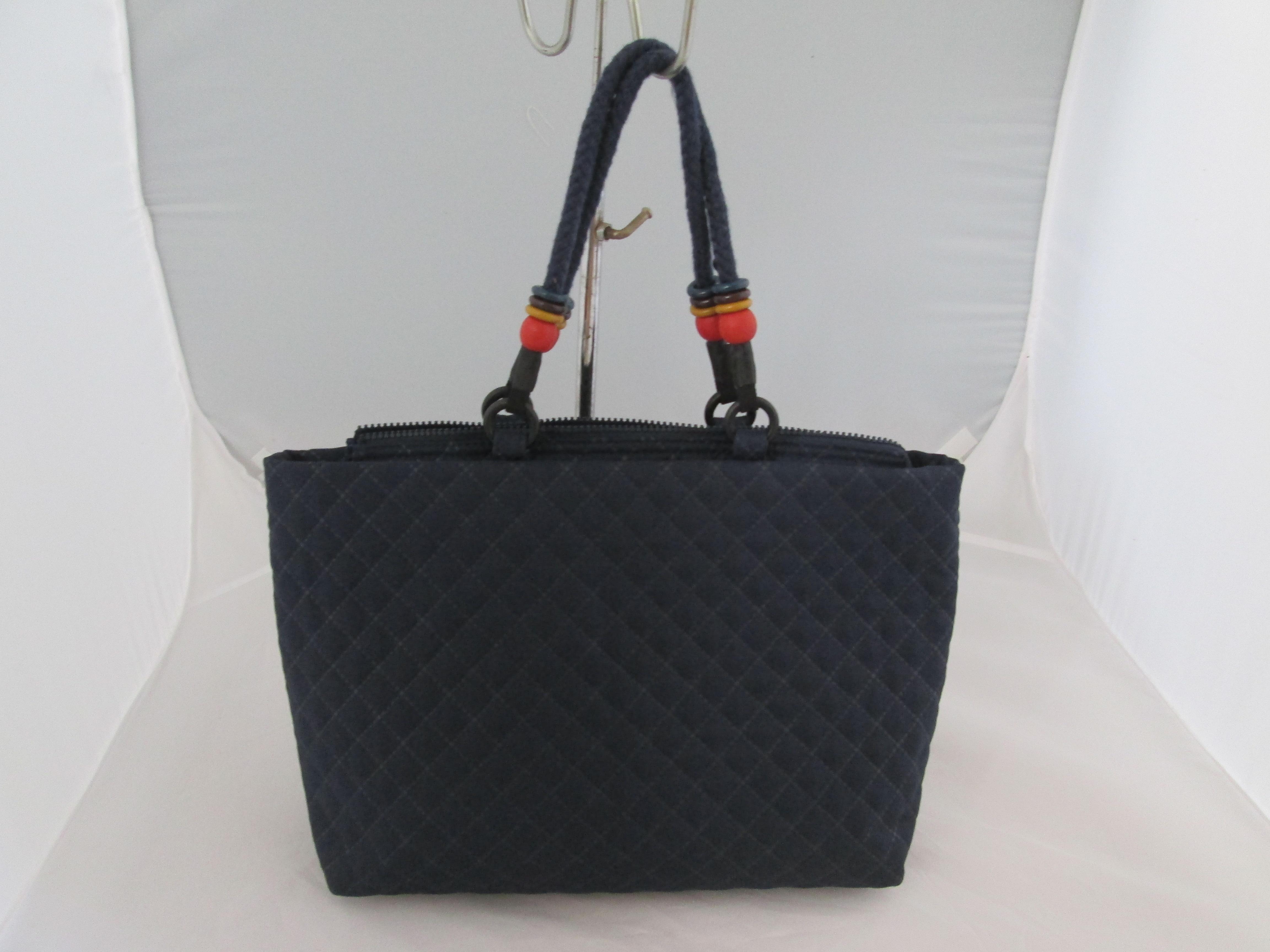 棉布间棉格子女士手袋,购物袋3425