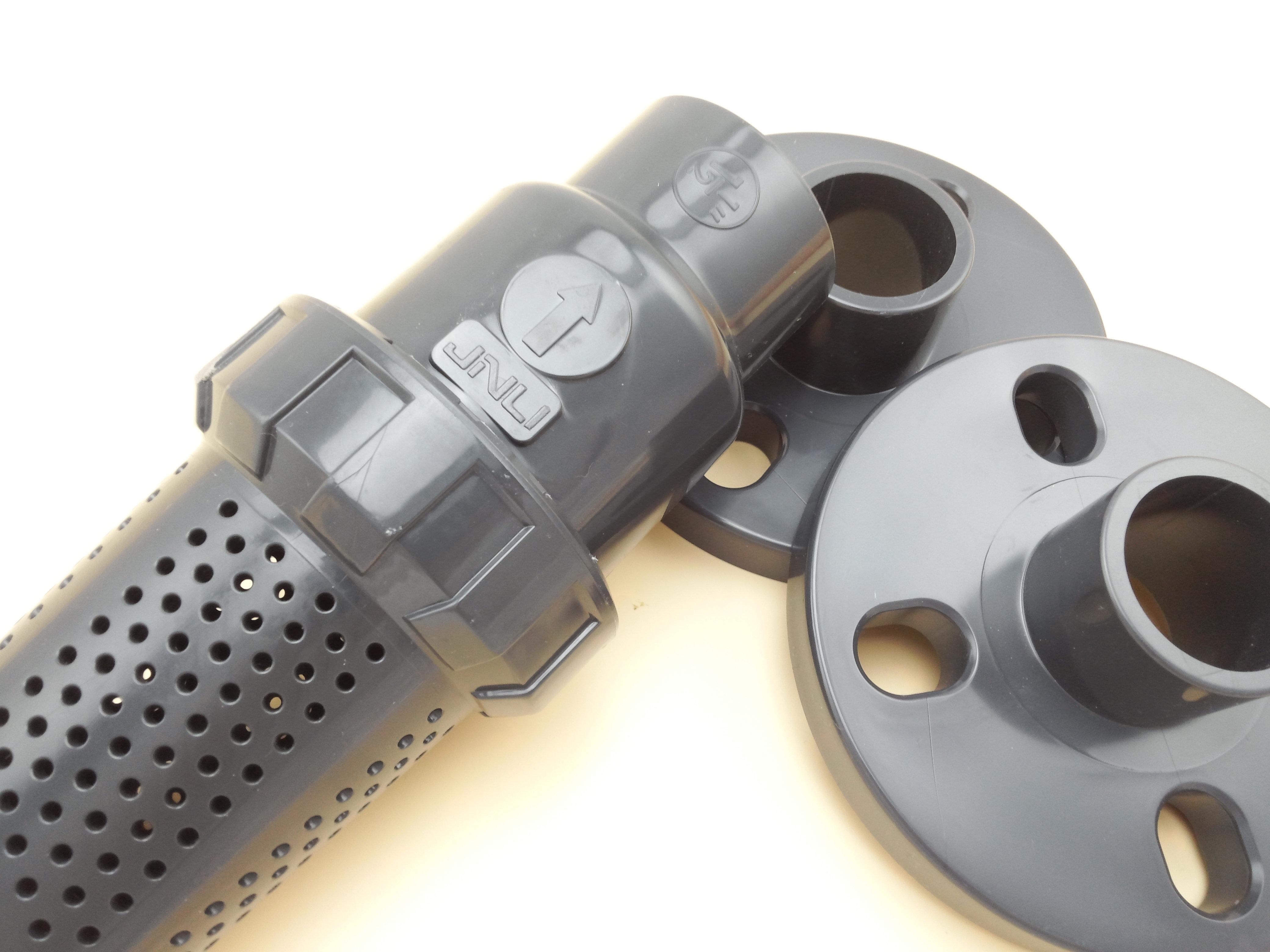 供应台州黄岩jnli京利upvc塑料国标dn25法兰式圆孔球型底阀图片