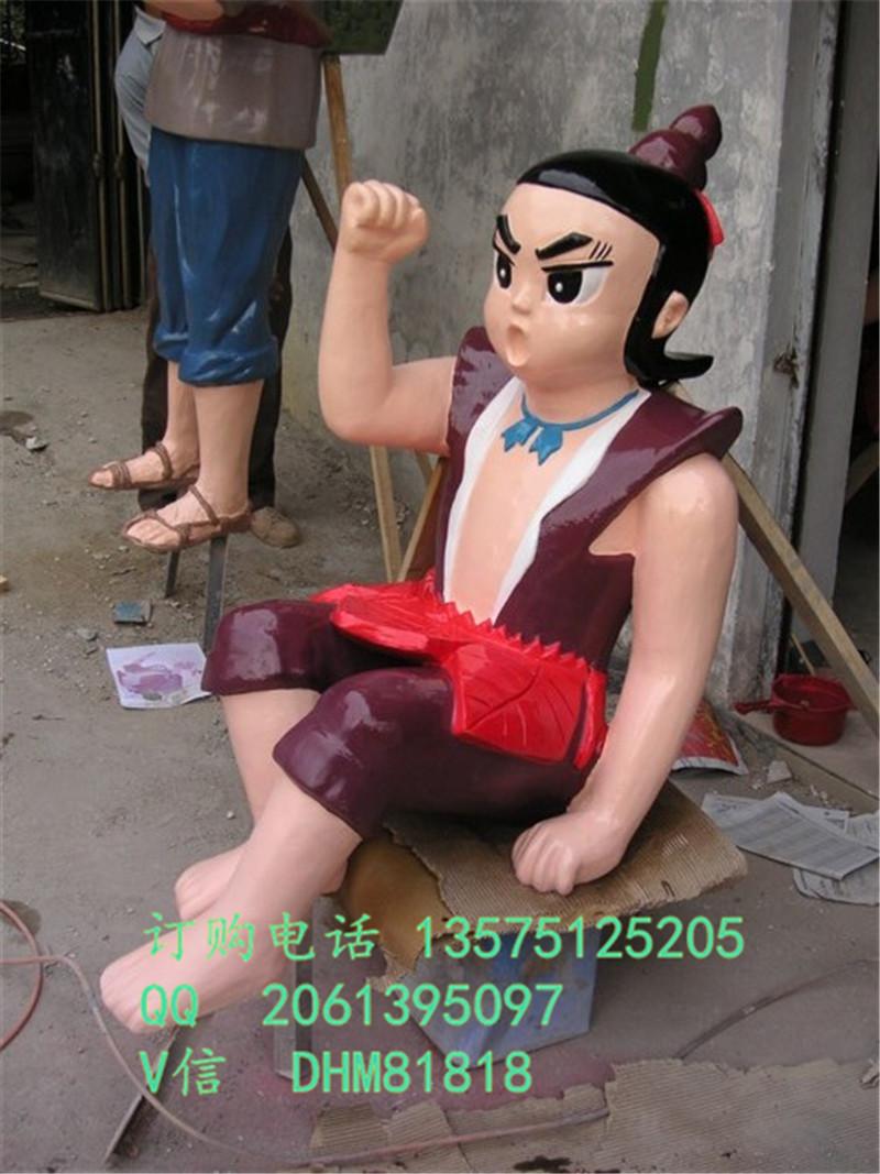 荆州彩绘树脂金刚葫芦娃雕塑玻璃钢葫芦侠兄弟老爷爷雕塑供应