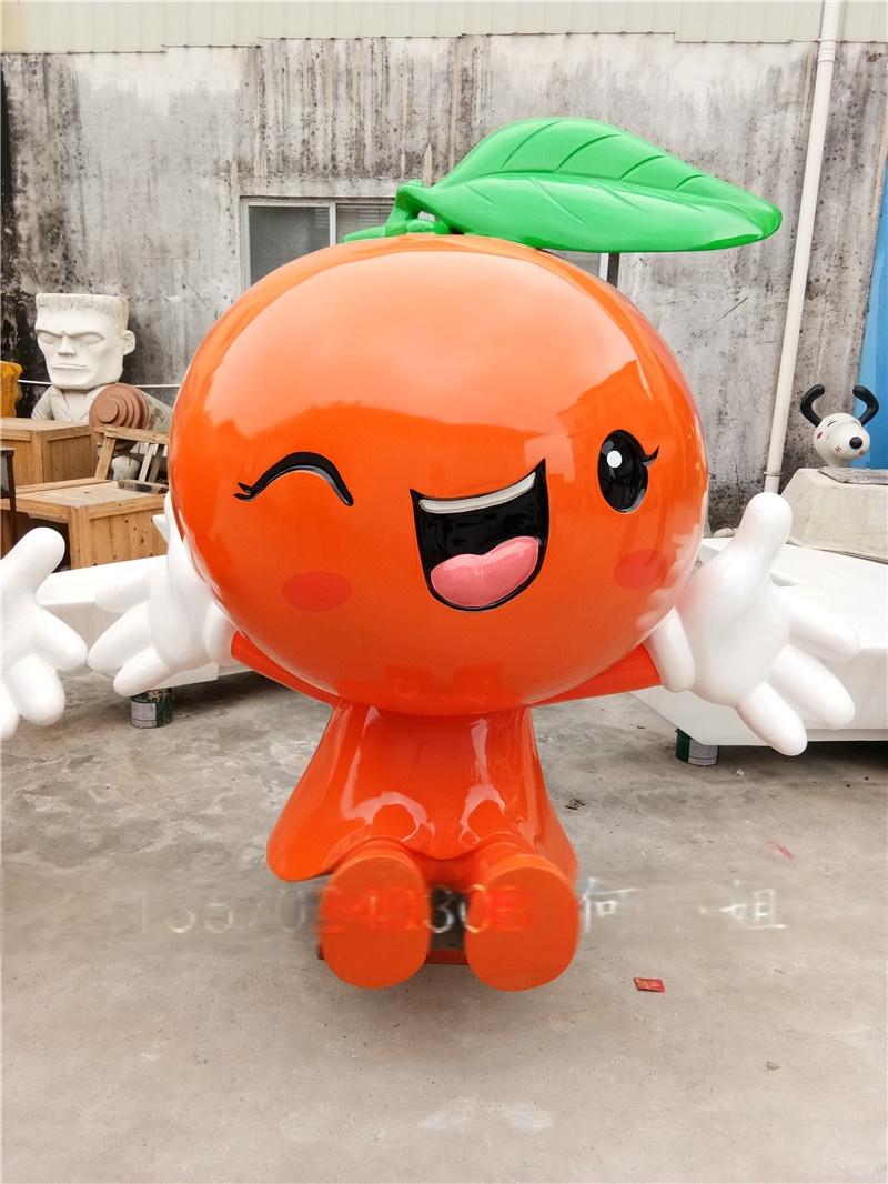 浙江橘子果园艺术观赏品玻璃钢卡通水果公仔雕塑图片