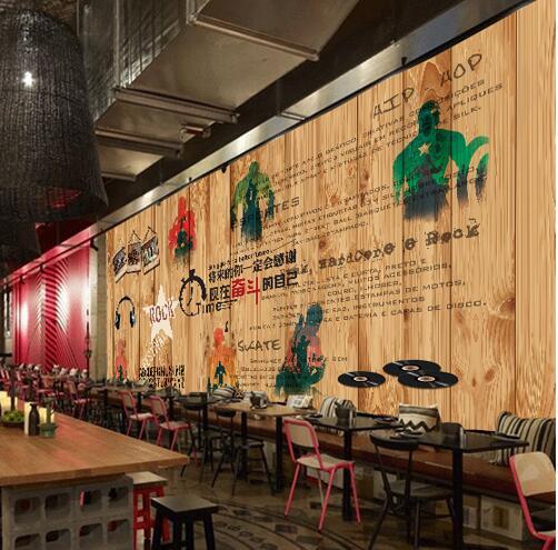 ktv会所高档壁纸 咖啡厅饭店酒吧个性复古墙纸墙绘图片