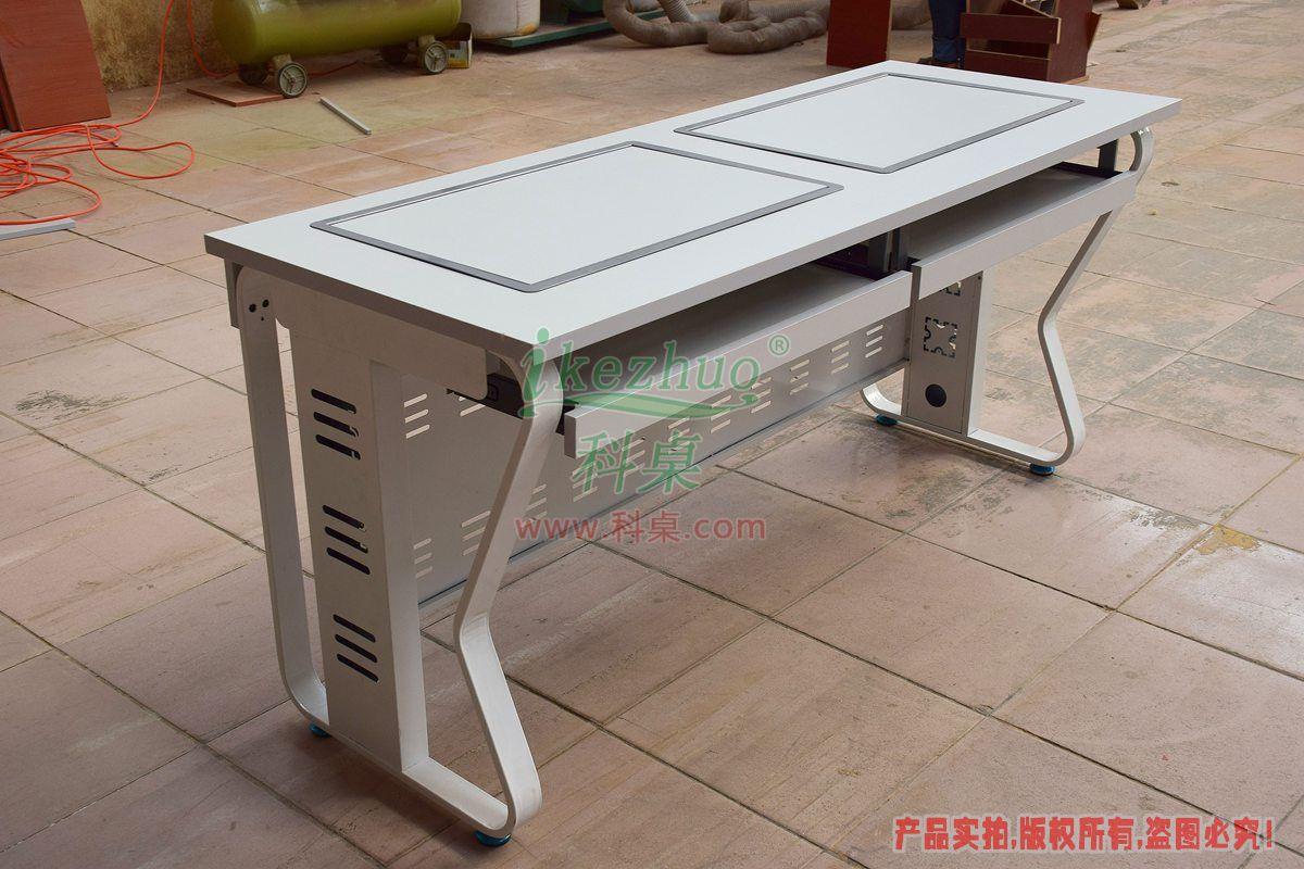 电脑维仺/k�.�_科桌钢制翻转电脑桌 边框翻转器电脑桌 采购k14双人电脑桌 多媒体培