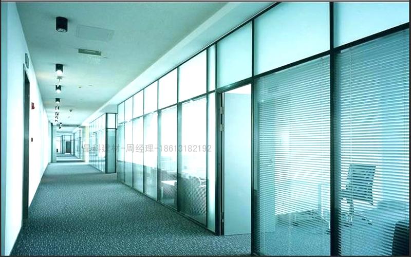 供应84系列银色双玻办公室钢化玻璃隔断