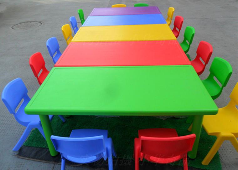 厂家批发幼儿园长方形加厚塑料可升降桌子椅子 儿童吃饭写字书桌