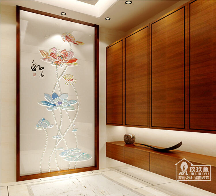 [供应]玖玖鱼 电视背景墙现代中式客厅过道玄关背景墙瓷砖壁画 和美图片
