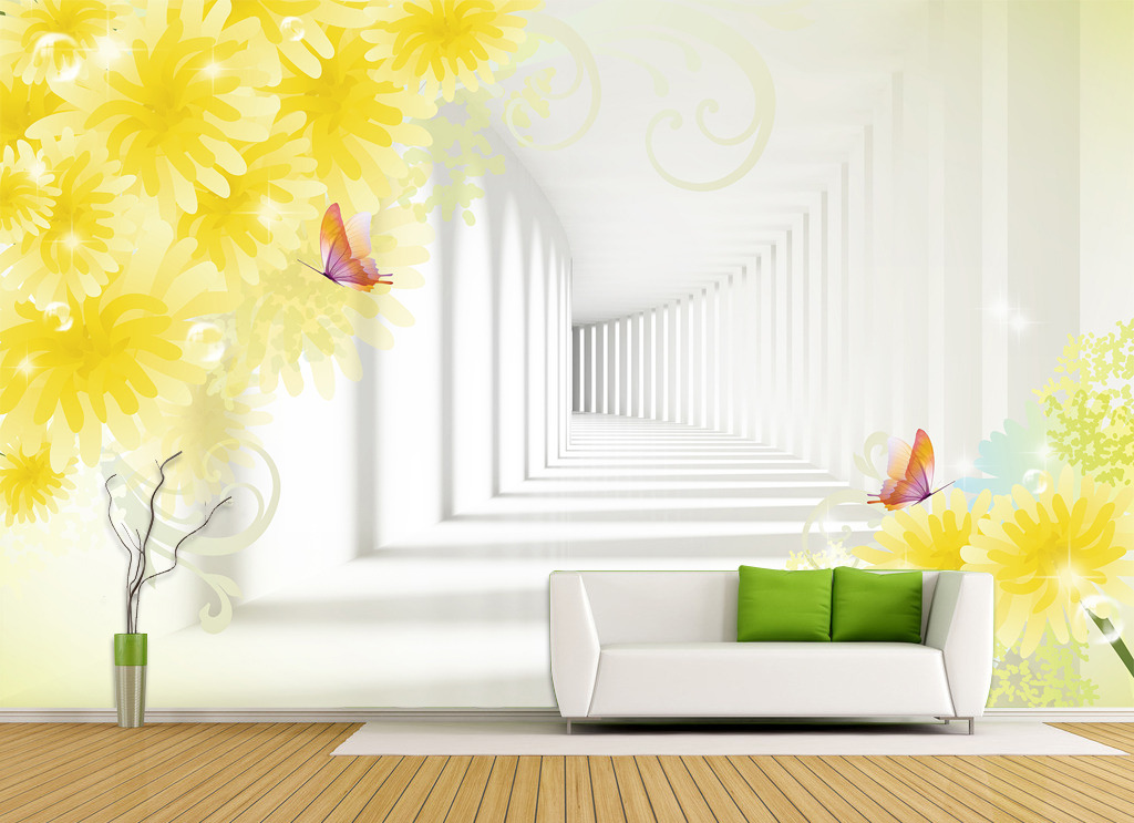 3d立体走廊空间扩展背景墙壁画墙布墙纸