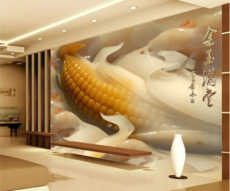 3d立体背景墙 瓷砖仿玉石背景墙 瓷砖壁画 金玉满堂