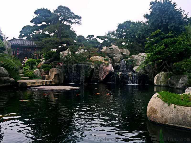 五行鱼池假山花园做问下别墅风格就好地中海别墅园林希腊图片