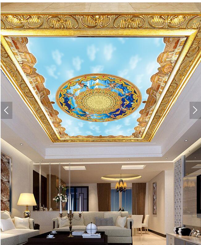法式吊顶壁纸 3d立体天花板墙纸 欧式教堂众神大型壁画图片