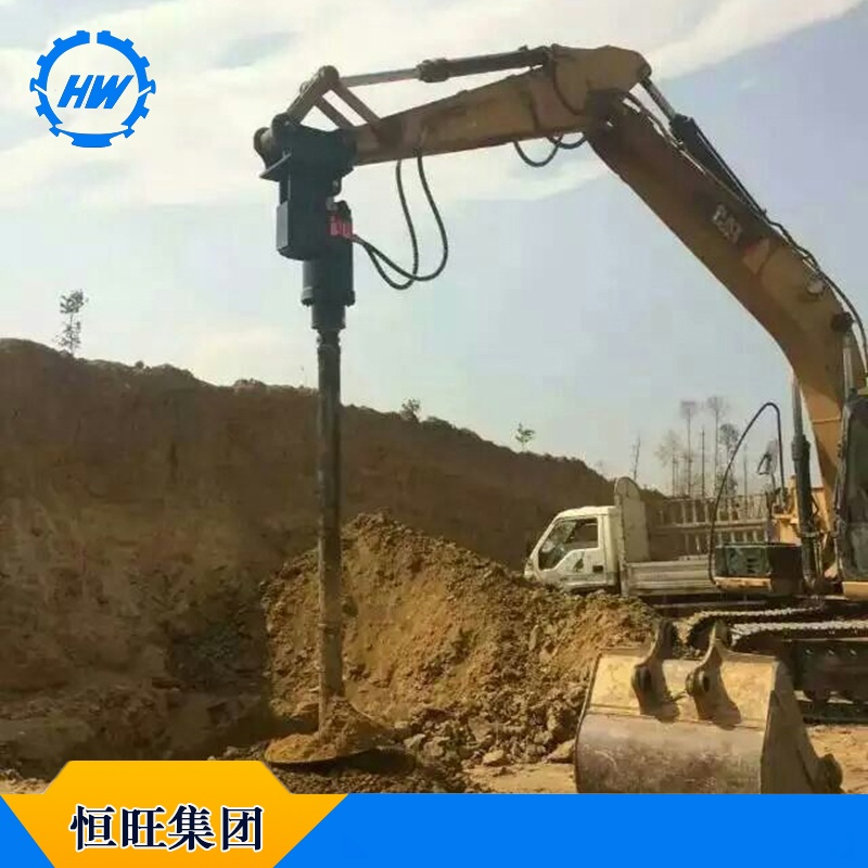 挖掘机改打桩机 挖改螺旋钻孔机 液压打桩机图片