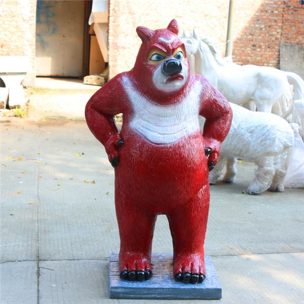 深圳欧泰斯玻璃钢艺术雕塑厂家定制卡通动物熊大熊二光头强