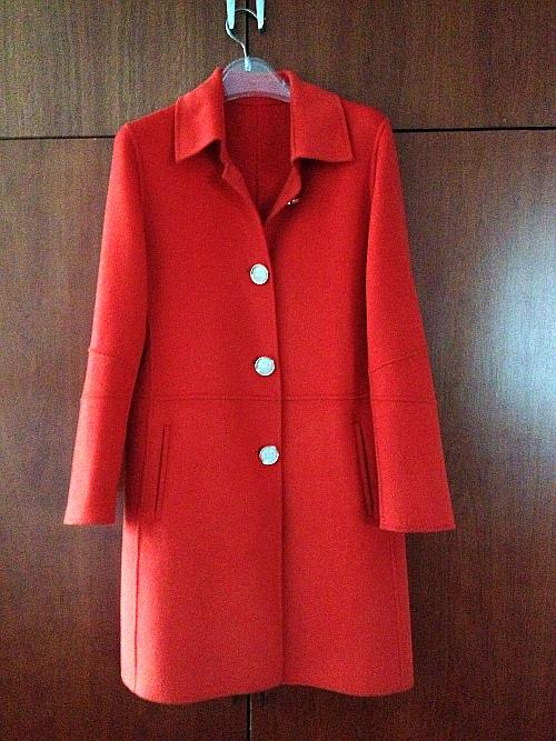 丹怡服饰双面绒羊毛毛呢大衣秋冬款系带女橘红色