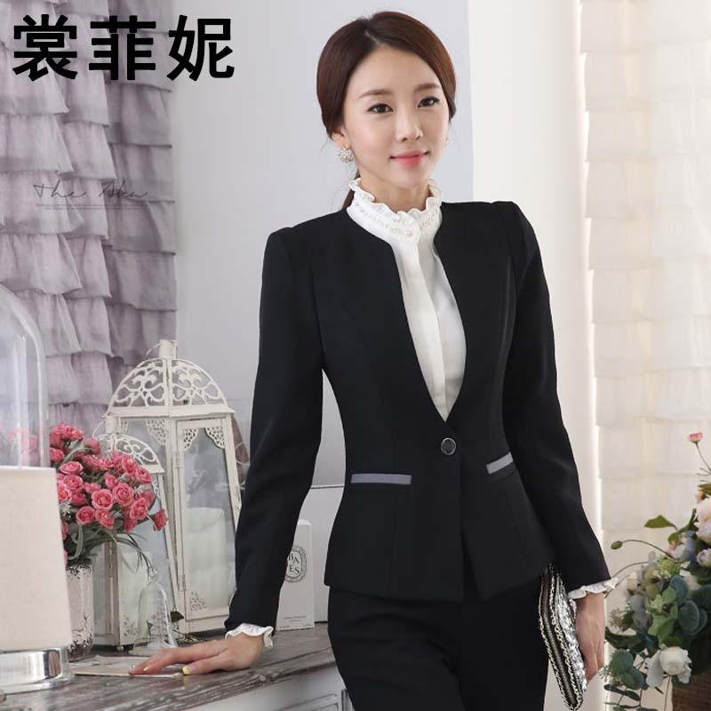 2016女装订货韩版秋冬长袖职业女裤套装 湖南白领工作