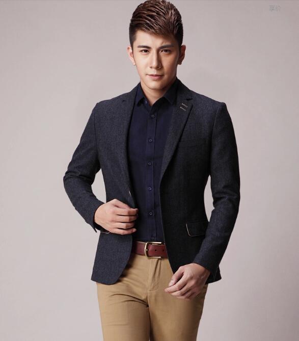 定做男休閑西裝 春季新款品牌男休閑西裝 純色修身韓版男式外套定制圖片