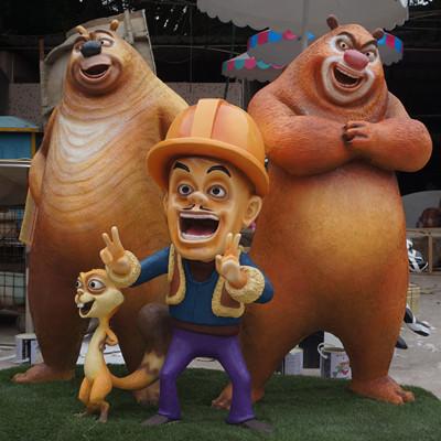 熊出没卡通玻璃钢雕塑9个 熊大熊二光头强雕塑
