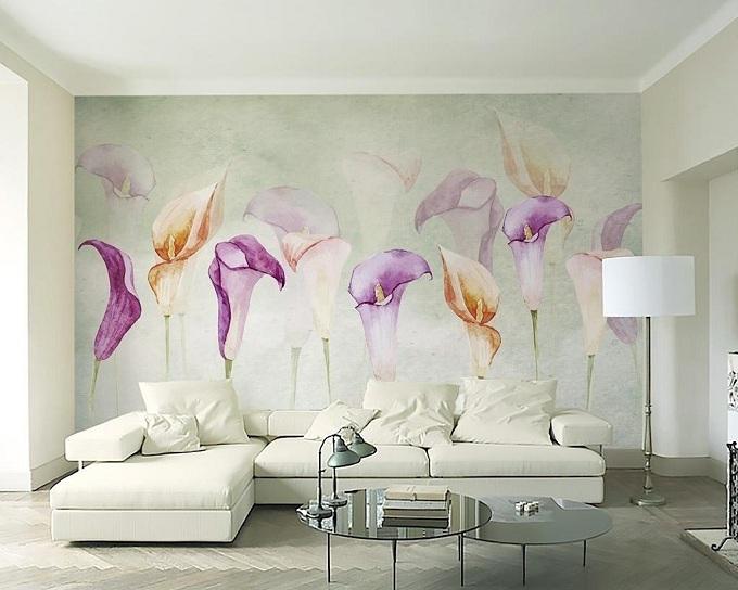萝岗区客厅沙发背景墙壁画定制生产厂家图片