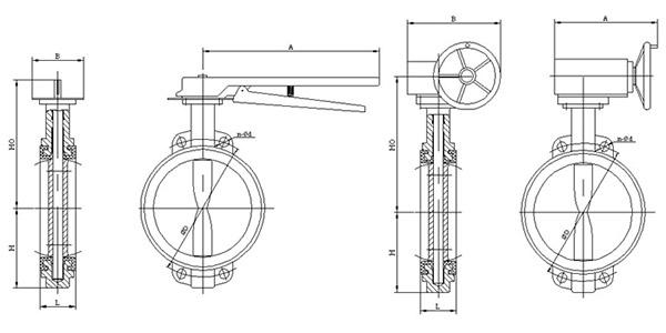 五,d371x软密封对夹蝶阀 外形尺寸图片