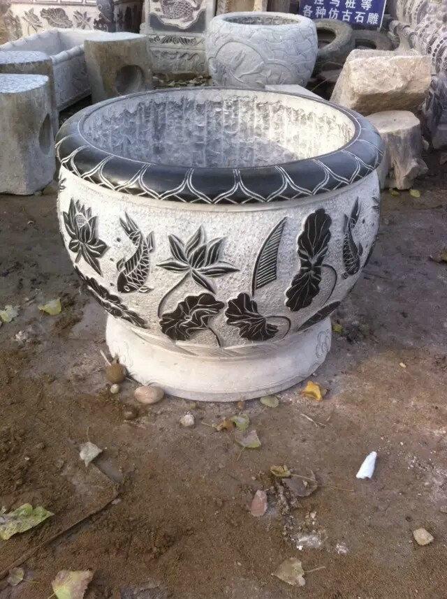 青石精度打磨石雕鱼缸 荷花鱼缸水槽摆件