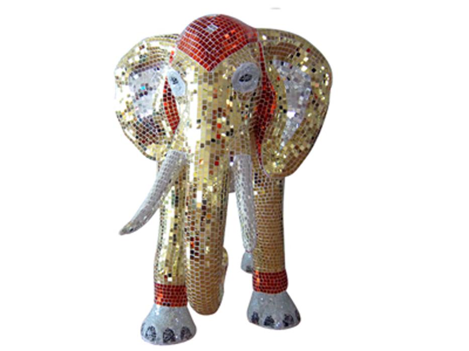 马赛克大象 玻璃钢动物摆件 景观雕塑