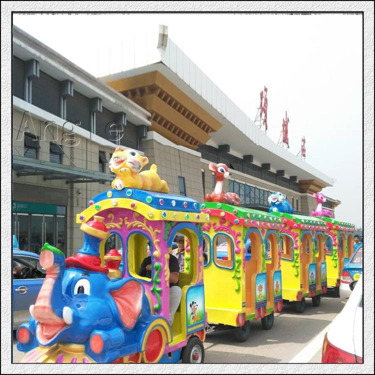 大型游乐场电动轨道小火车狂野动物大象火车公园设备