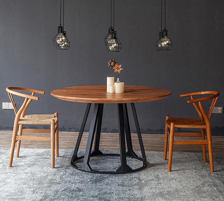 北欧实木圆形餐桌椅组合美式复古铁艺餐桌圆桌小户型餐馆饭店餐桌图片