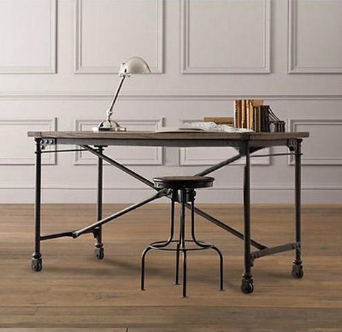 美式loft风格铁艺材料深圳创客做旧餐桌家具实家具裂缝v风格木工业图片