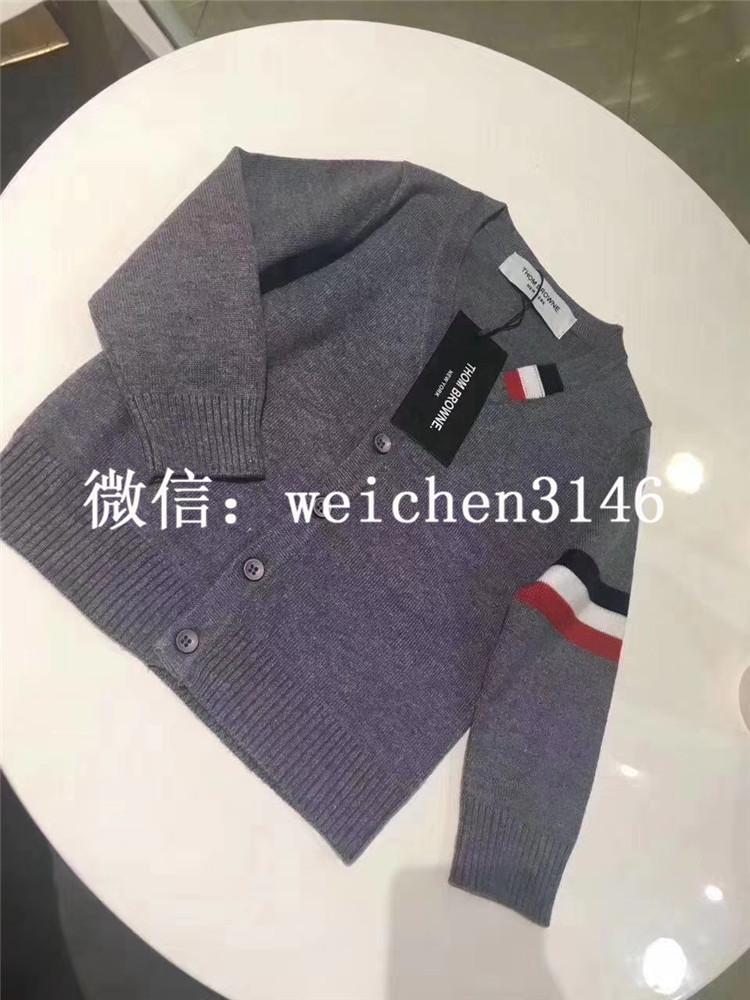 欧美高端男童装亲子装v领条纹羊绒针织开衫外套