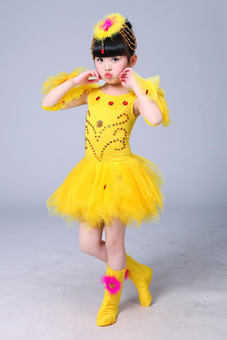 六一新款儿童动物小鸡也疯狂演出服装女儿童蓬蓬纱裙舞蹈表演服装