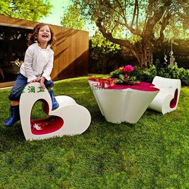 玻璃钢心形休闲椅 创意现代休闲座椅 商场休闲座椅